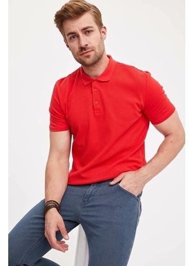 DeFacto Slim Fit Renk Bloklu Polo T-shirt Kırmızı